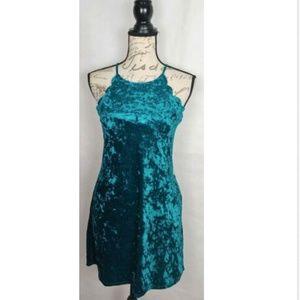 BCX teal scalloped sleeves velvet shift dress